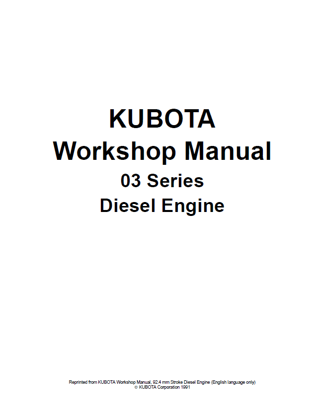 Kubota 03 Series Diesel Engine Workshop Manual PDF