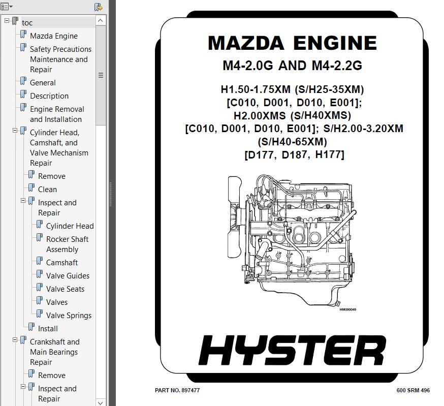 Hyster Class 4 D010 S25-35XM S40XMS Engine Trucks PDF