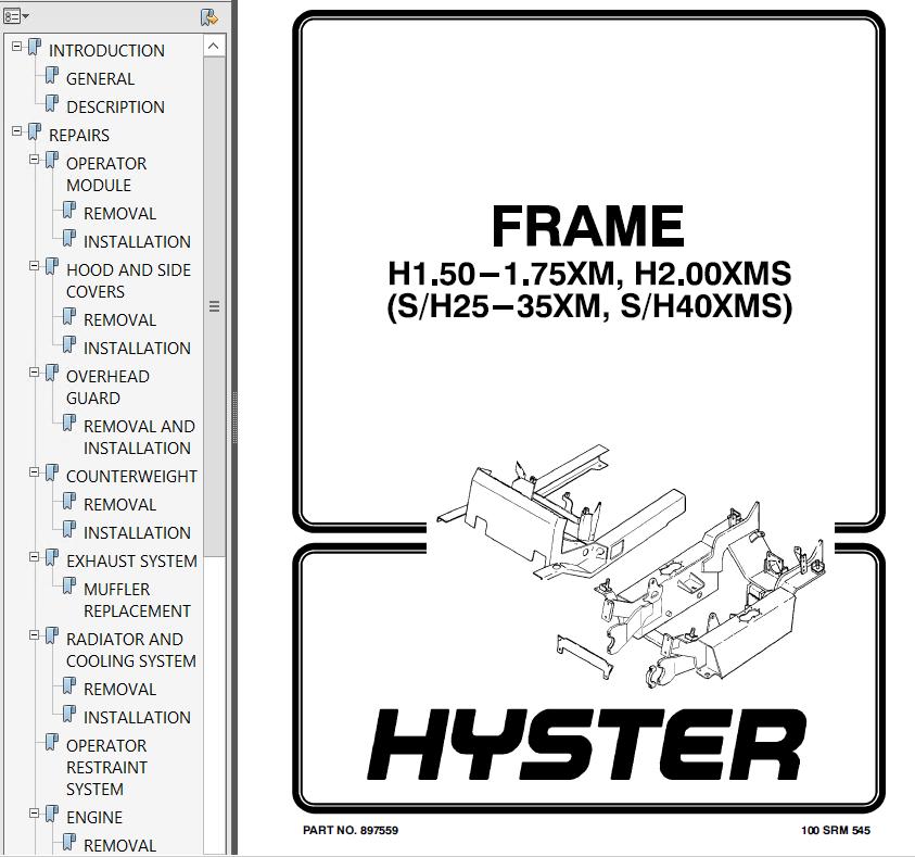 Hyster Class 5 D001 H25-40XM H25-40XMS Trucks PDF