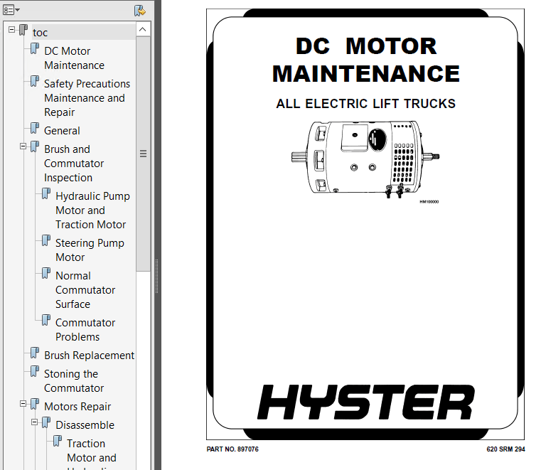 Hyster Class 1 For A219 Electric Motor Rider Trucks PDF Manual