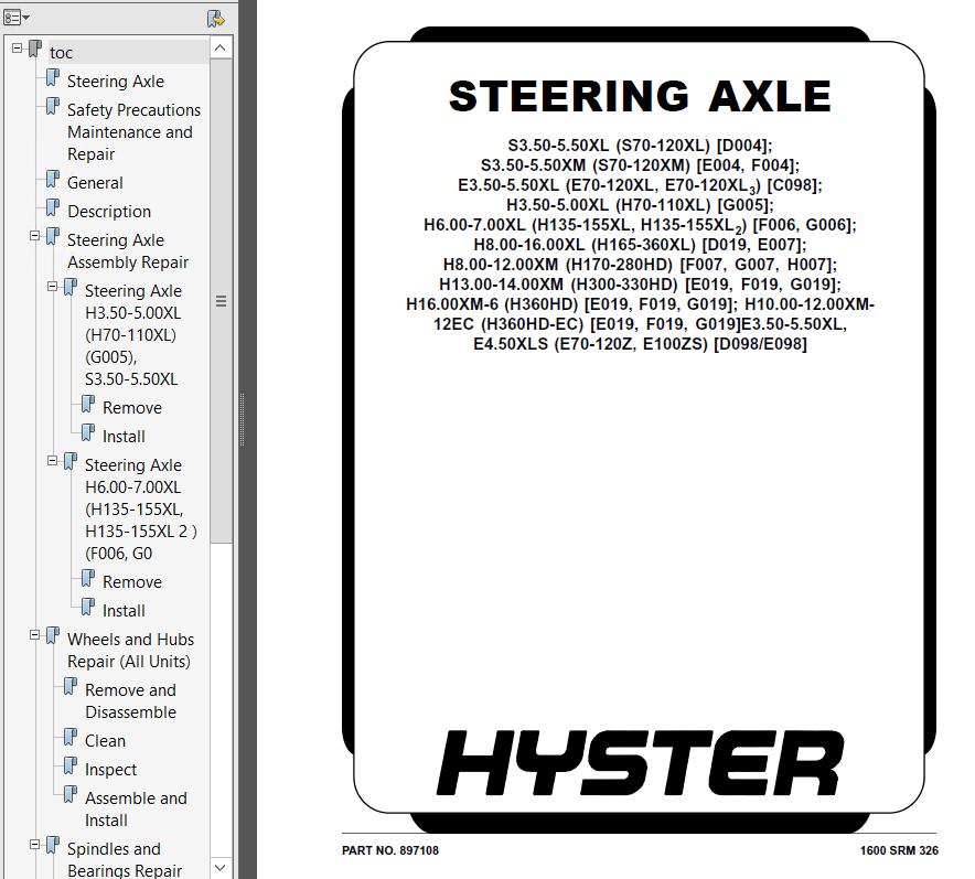 Hyster Class 1 E098 Europe Electric Motor Rider Trucks PDF