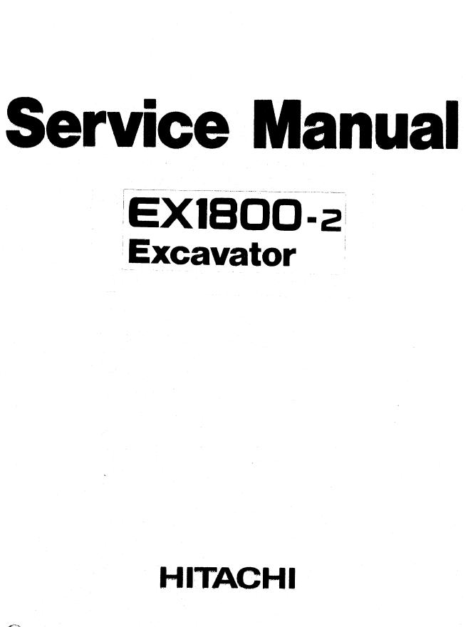 Hitachi EX1800-2 Excavator Service Manual PDF