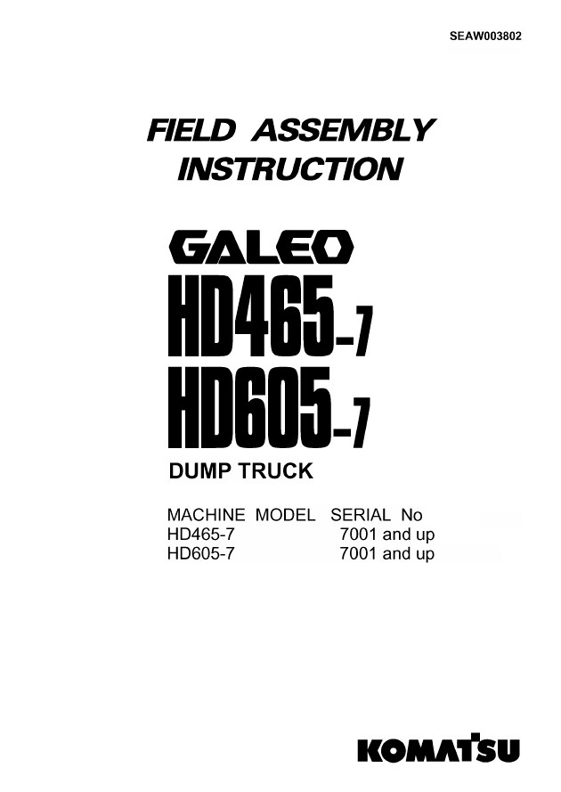 Komatsu Dump Truck HD465-7 & HD605-7 Set of PDF Manuals