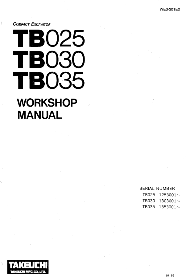 Takeuchi Excavators TB025/030/035 Workshop Manual Download