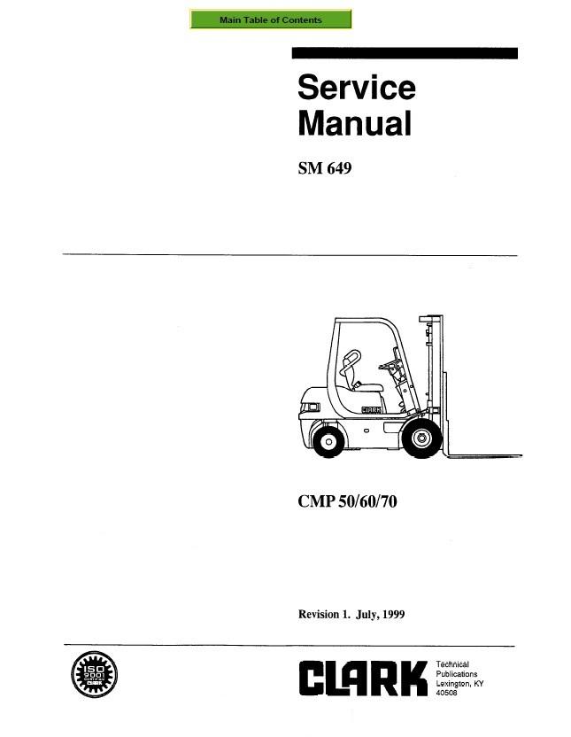 Clark CMP 50/60/70 SM649 Service Manual PDF