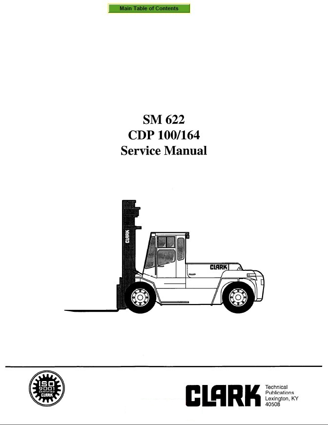 Clark CDP 100/164 SM622 Service Manual PDF