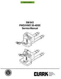 Clark PWD & HWD 30-40SE SM643 Service Manual PDF