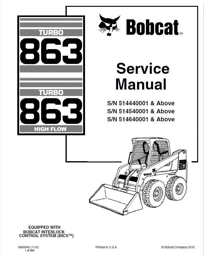 Bobcat 863 863HF Turbo Skid Steer Loaders Service Manual