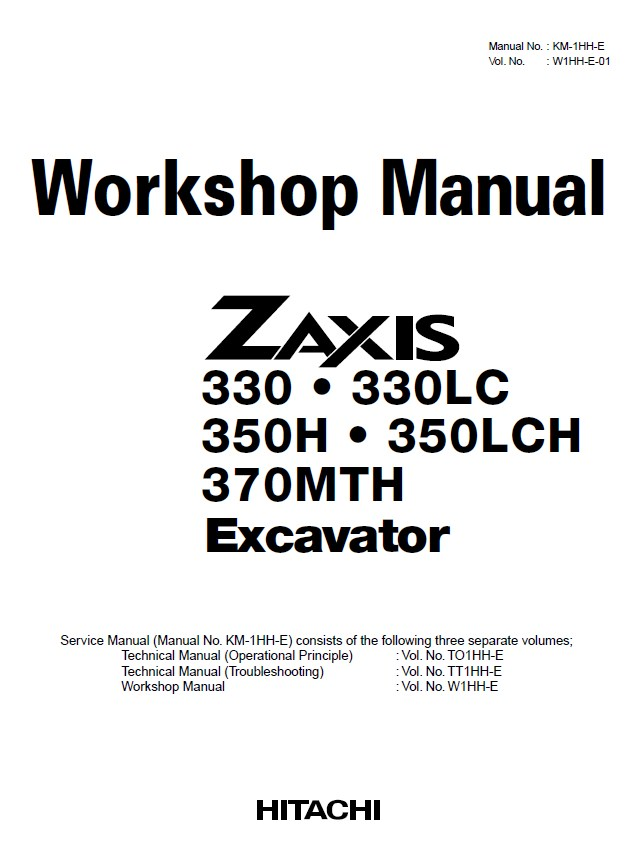 Hitachi 330/LC 350H/LCH 370MTH Excavator Workshop Manual PDF