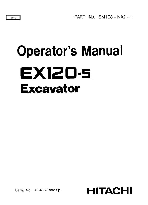 Hitachi EX120-5 Excavator Workshop+Operator's Manuals PDF