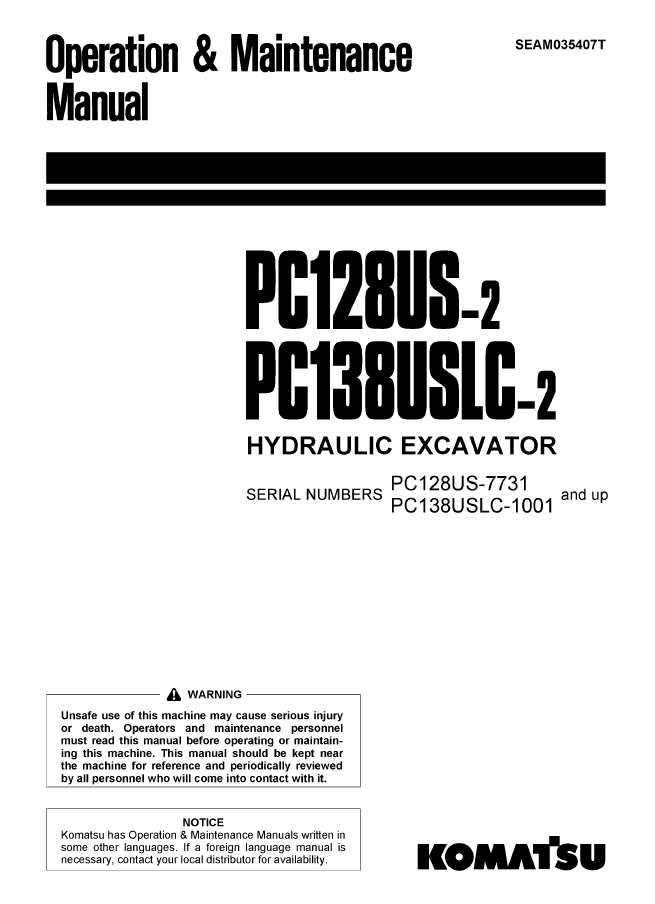 Komatsu Excavator PC128US-2, PC138US-2 PDF Manuals Download