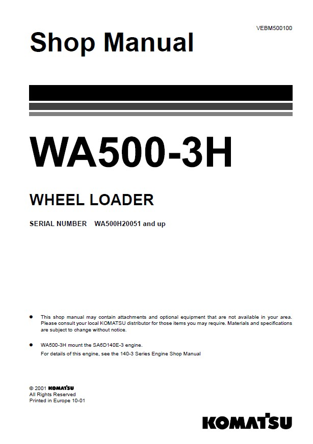 Komatsu WA500-3H Wheel Loader Shop Manual PDF