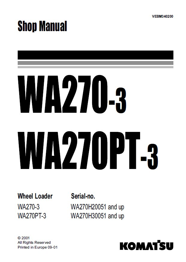 Komatsu WA270-3/PT-3 Wheel Loader Shop Manual PDF Download