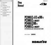 Komatsu PC300/400-5 Hydraulic Excavator Shop Manual PDF