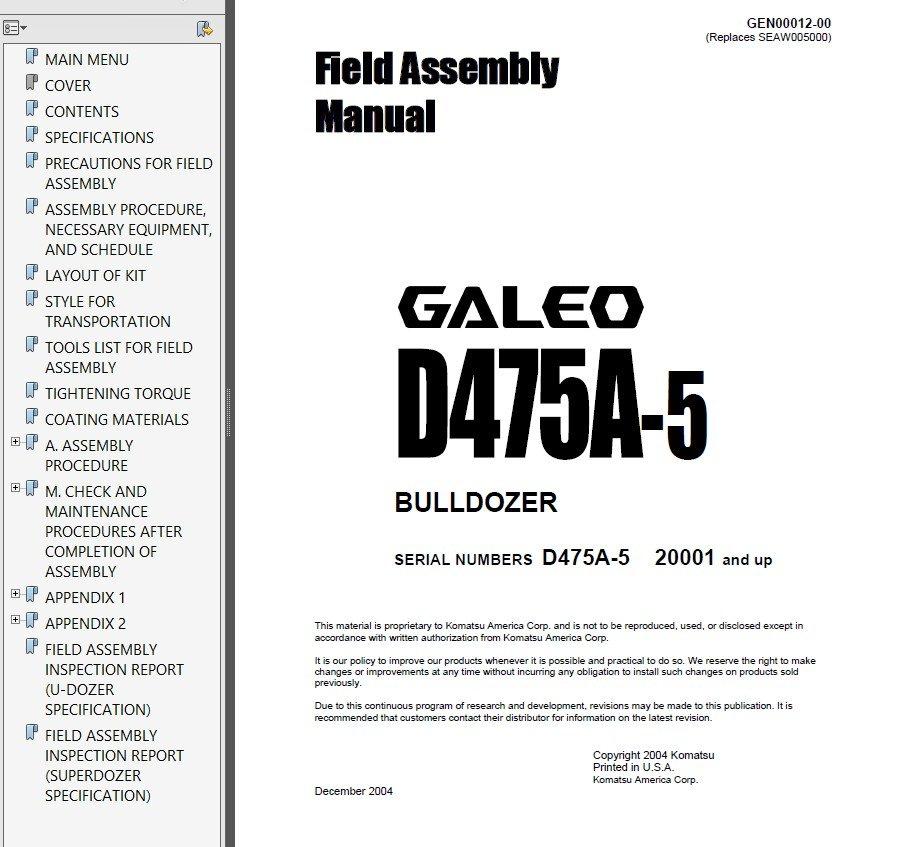 Komatsu D475A-2 & D475A-3 & D475A-5 Bulldozers PDF