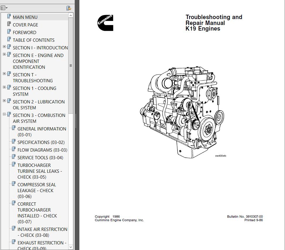 medium resolution of repair manual cummins k19 series diesel engine troubleshooting and repair manual pdf