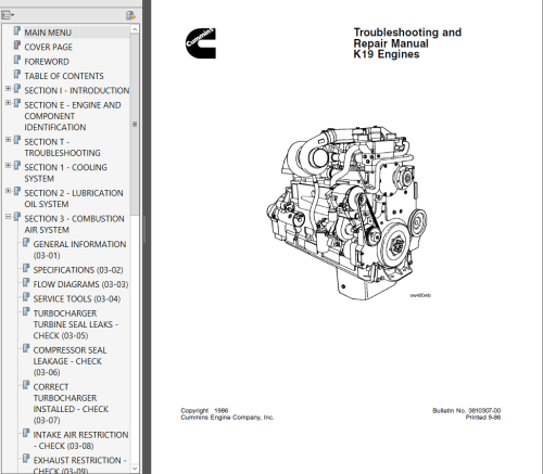 small resolution of repair manual cummins k19 series diesel engine troubleshooting and repair manual pdf