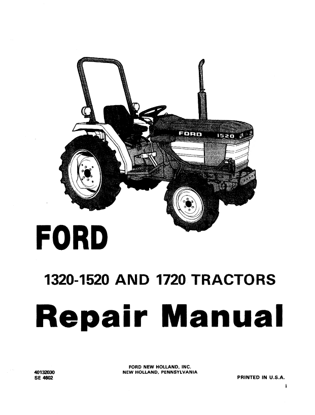 Holland Ford 1320/1520/1720 Tractor Repair Manual PDF Download