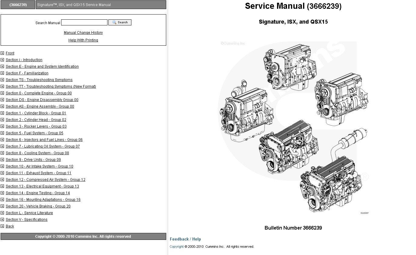 Cummins Qsx15 Qsx 15 Operation Service Workshop Manual