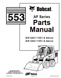 Bobcat 553 AF-Series Skid Steer Parts Manual PDF