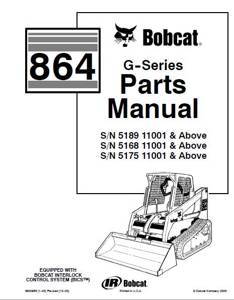 Bobcat 864 G Series Skid Steer Loader Parts Manual