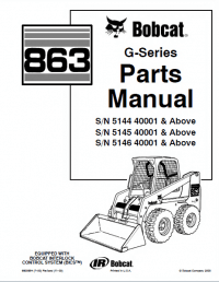 Bobcat 863 G-Series Skid Steer Loader Parts Manual PDF