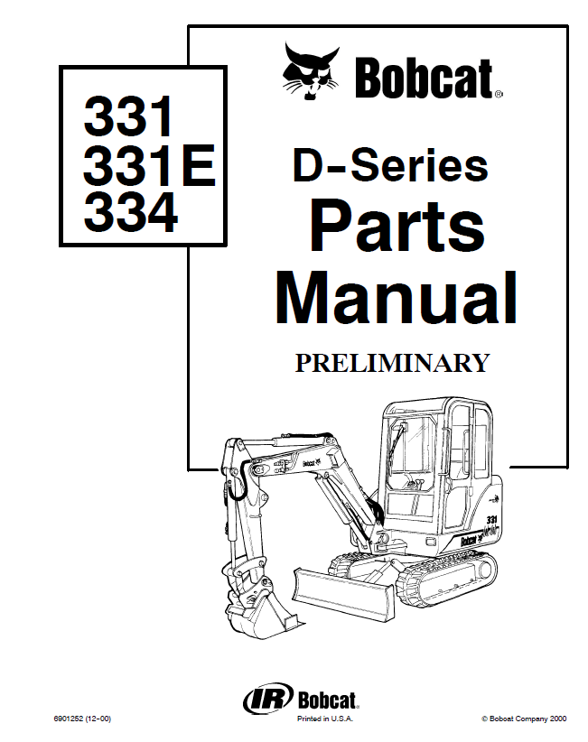 Bobcat 331, 331E, 334 D-Series Excavator Parts Manual PDF