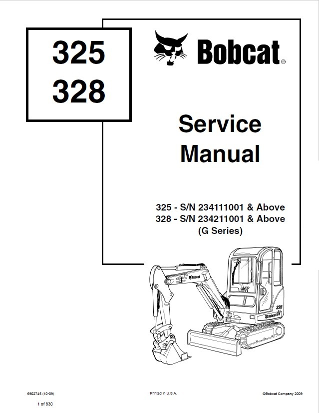 Bobcat 325, 328 Excavator G Series Service Manual PDF