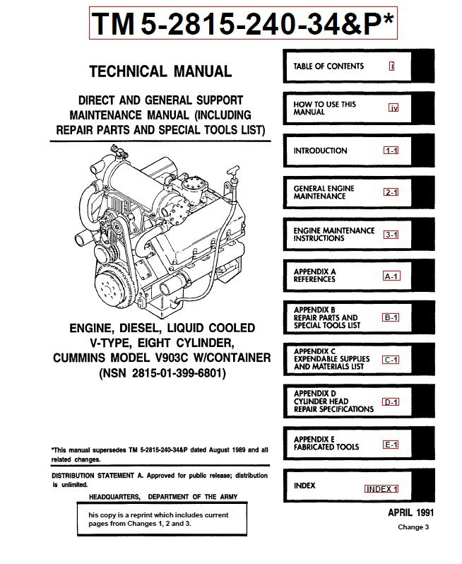 Cummins Engine Technical Manual TM5-2815-240-34&P PDF Download