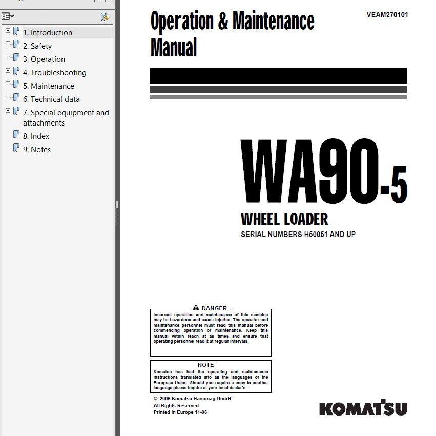 Komatsu WA90-5 & WA100M-5 Wheel Loader PDF