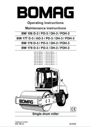 Bomag BW156  179 DPDDHPDH3 Drum Operating Instructions