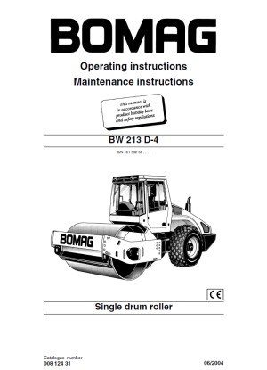 Bomag BW213 D4 Drum Roller Operating Instructions PDF
