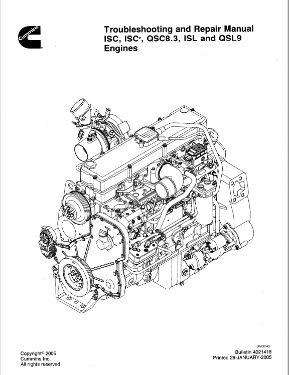 Download Cummins Engines ISC ISCe QCS8.3 ISL QSL9 PDF Manual