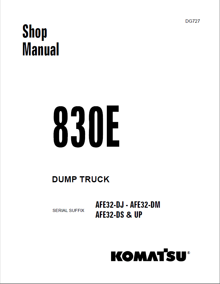 Komatsu Dump Truck 830E Set of Shop Manuals Download