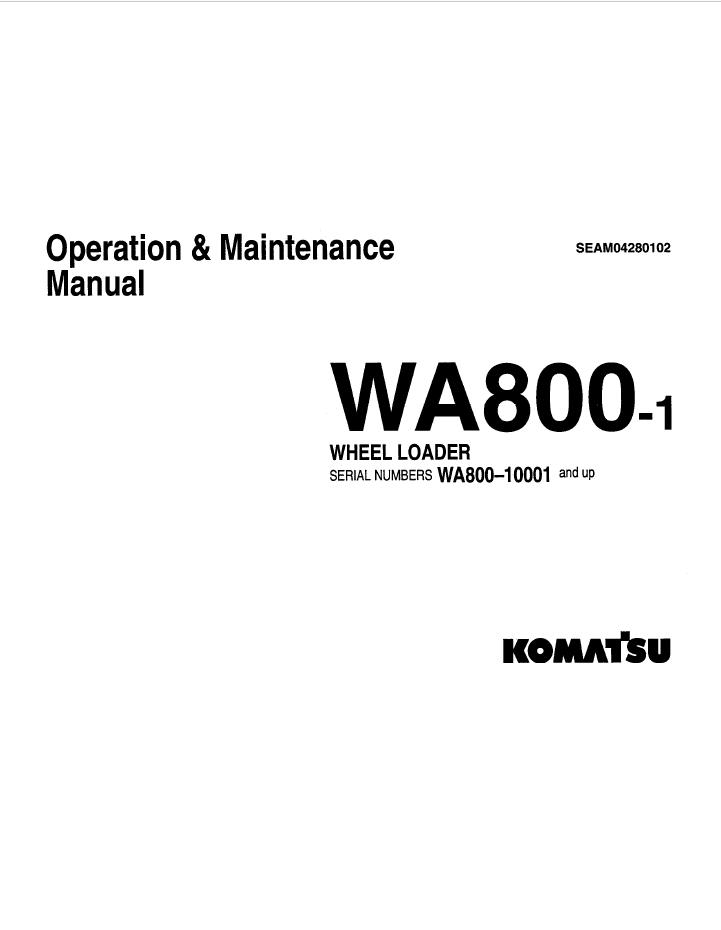 Komatsu Wheel Loader WA800-1 Manual PDF Download