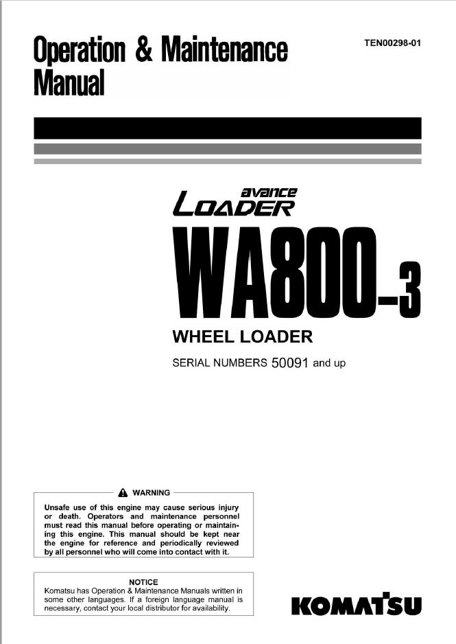 Komatsu Wheel Loader WA800-3 Manual PDF Download