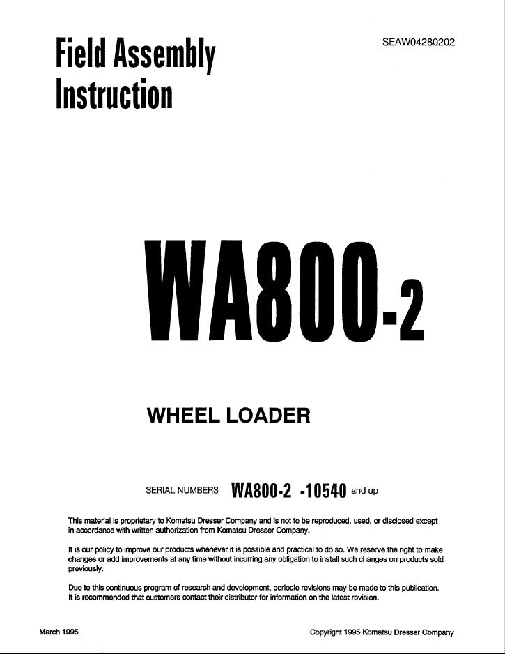 Komatsu Wheel Loader WA800-2 Instruction PDF Download