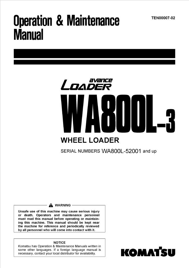 Komatsu Wheel Loader WA800L-3 Manual PDF Download