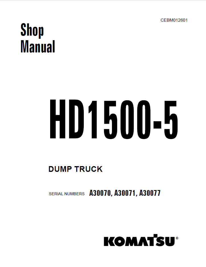 Komatsu Dump Truck HD1500-7 Field Assembly Manual