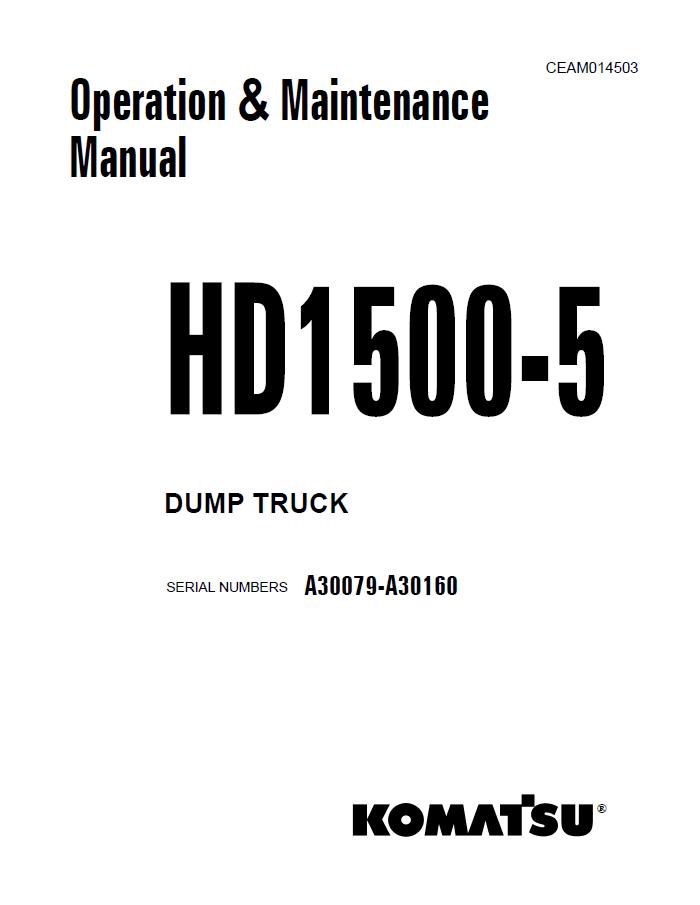 Komatsu Dump Truck HD1500-5 Set of Manuals PDF