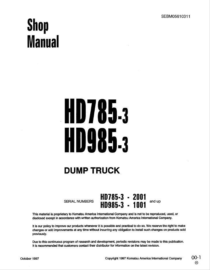 Komatsu Dump Truck HD785-3, HD985-3 Manual Download