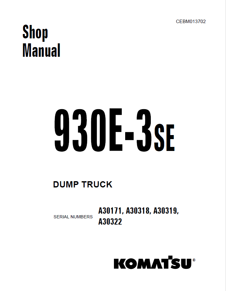 Komatsu Dump Truck 930E-3SE Set of Manuals Download