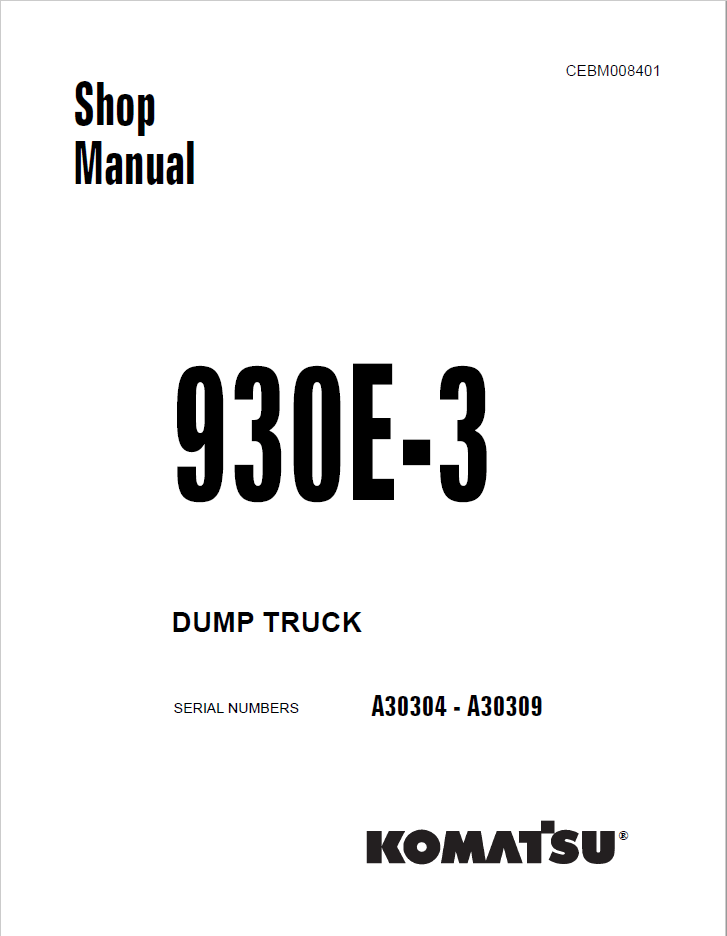Komatsu Dump Truck 930E-3 Set of Shop Manuals Download