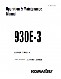 Komatsu Dump Truck 930E-3 Set of Manuals PDF Download