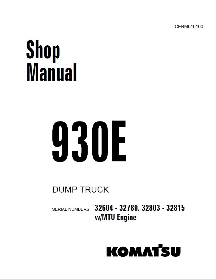 Komatsu Dump Truck 930E Set of Manuals PDF Download