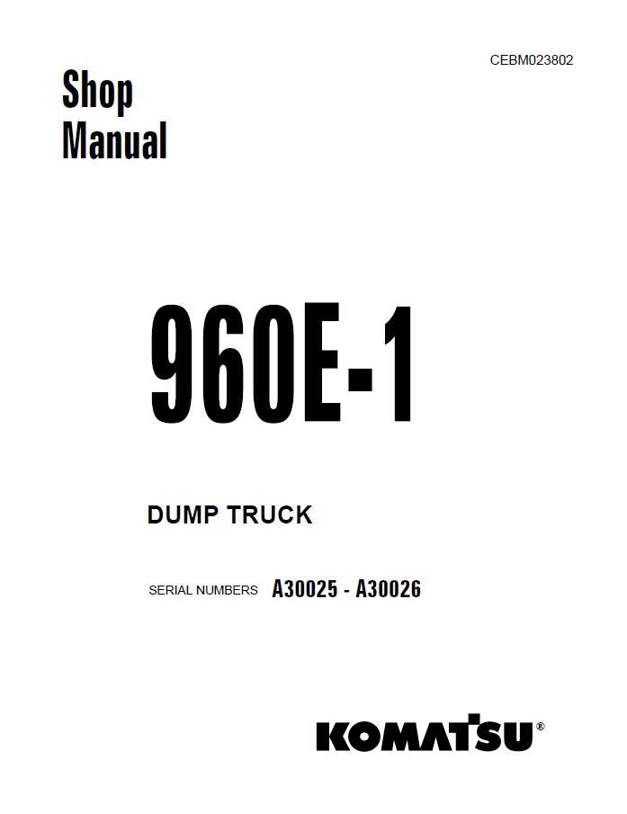 Komatsu Dump Truck 960E-1 Shop Manual PDF Download