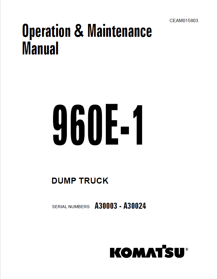 Komatsu Dump Truck 960E-1 Manuals PDF Download