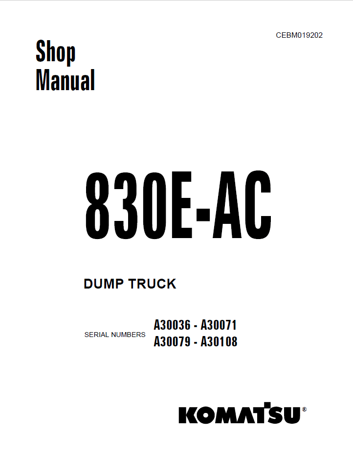 Komatsu Dump Truck 830E-AC Shop Manual PDF Download