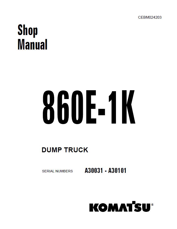 Komatsu Dump Truck 860E-1K Shop Manual PDF Download