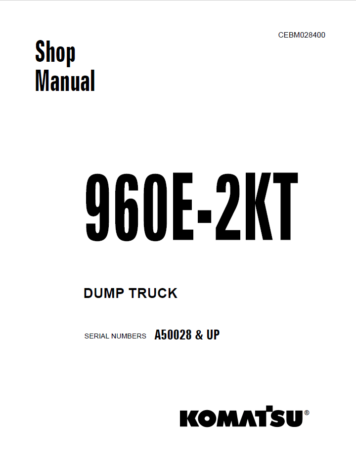 Komatsu Dump Truck 960E-2KT Shop Manual PDF Download